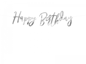 Baner Happy Birthday, srebrny, 16,5x62 cm