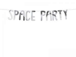 Baner Kosmos - Space Party, srebrny, 13x96 cm