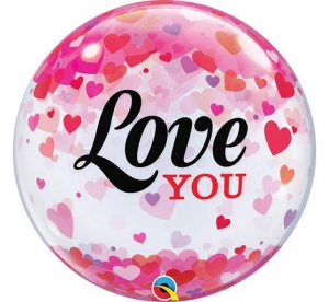 Balon foliowy 22 cale Bubble Love You Confetti Hearts